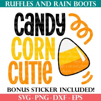 halloween svg candy corn cutie cut file for Cricut maker explore joy and Silhouette from ruffles and rain boots