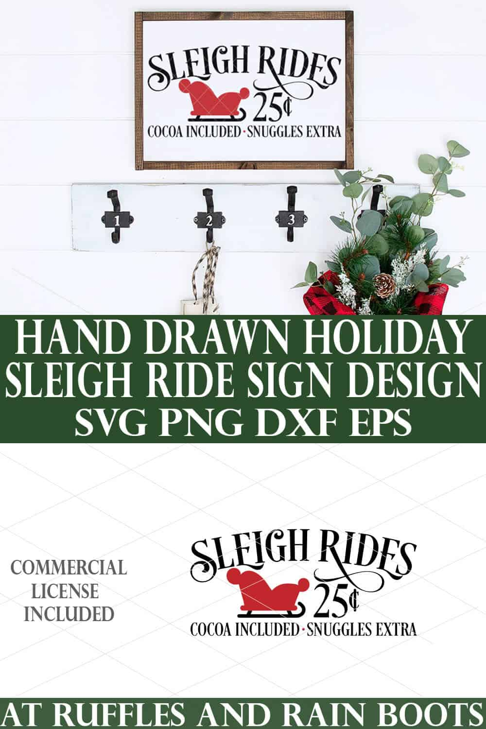 collage of sleigh rides svg set on white wood sign against white shiplap Christmas background