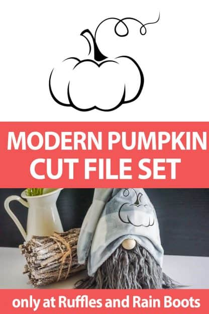 photo collage of elegant pumpkin cut file set for cricut or silhouette with text which reads modern pumpkin cut file set