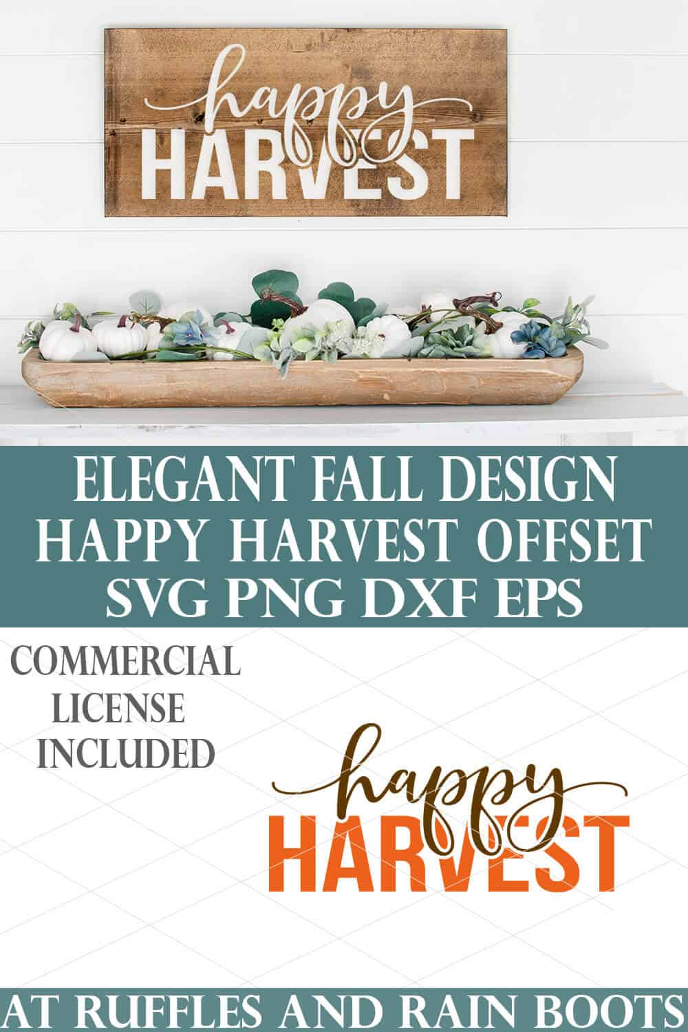 elegant autumn svg with happy harvest cut file offset design in white on wood plank over autumn decorated mantle