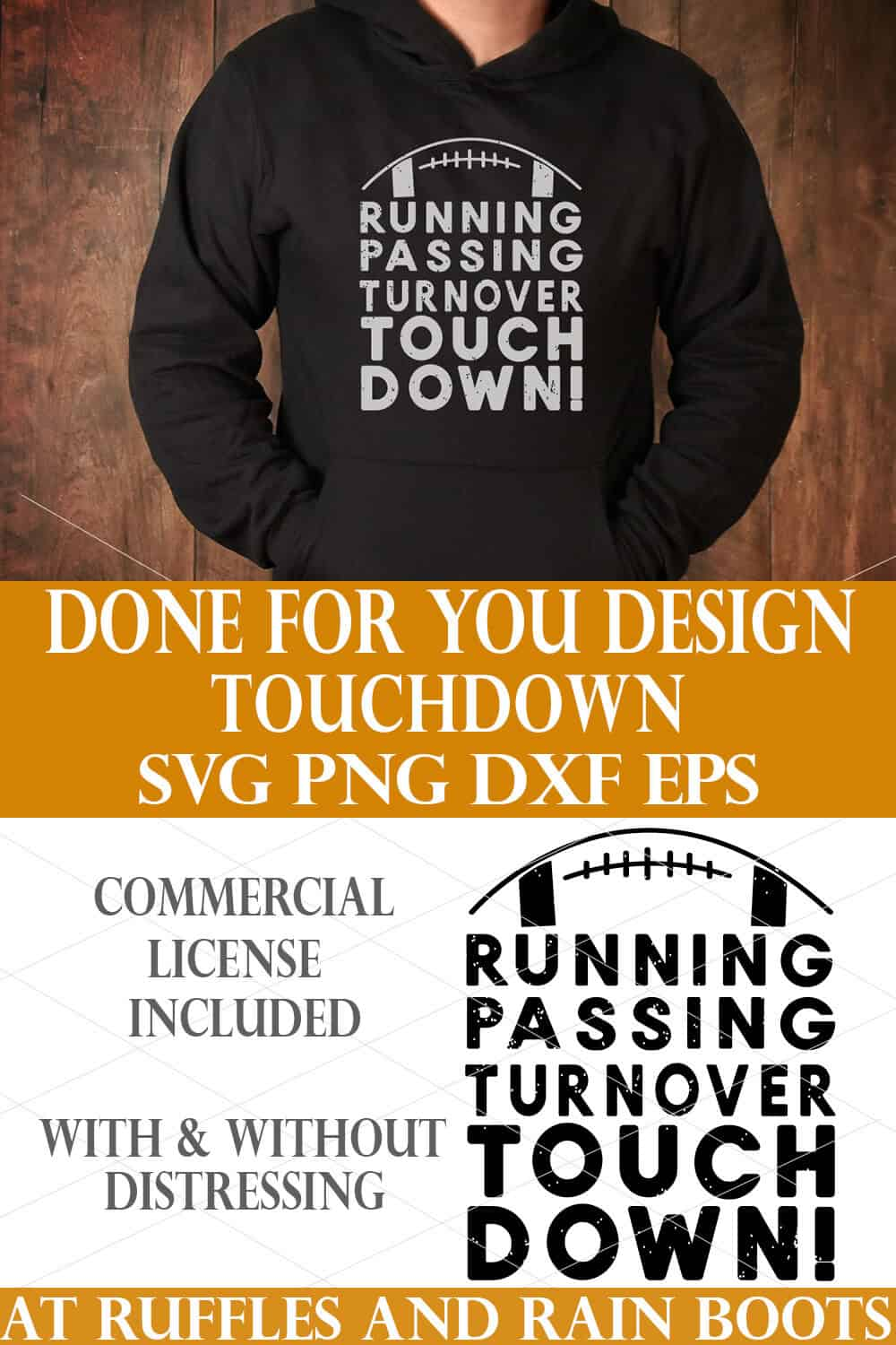 vertical collage of football cut file touchdown svg on a black hoodie in a light gray vinyl made with cricut maker by ruffles and rain boots
