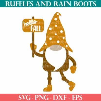 hello fall gnome svg with sign from ruffles and rain boots for cricut silhouette and sublimation