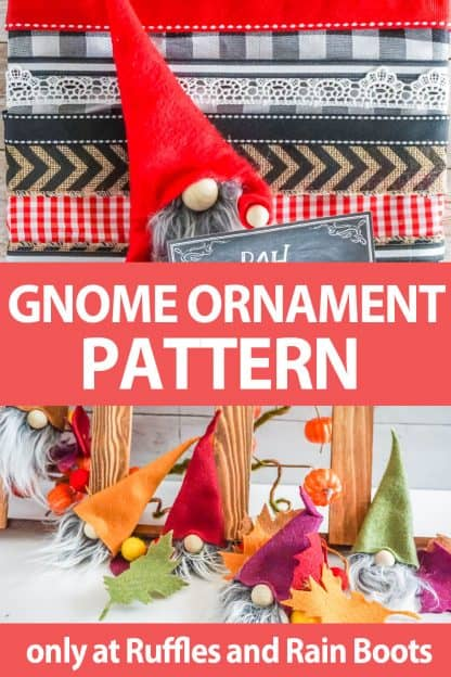 photo collage of gnome ornament pattern with text which reads gnome ornament pattern