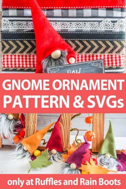 photo collage of gnome ornament pattern and cut file set for cricut or silhouette with text which reads gnome ornament pattern and svgs