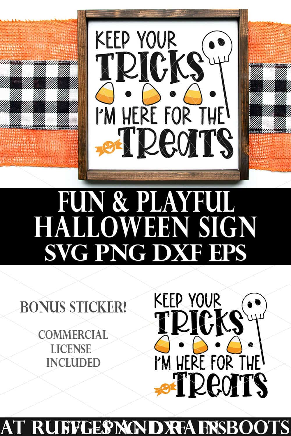 vertical collage of keep your tricks Im here for the treats svg on white Halloween sign over burlap and check background