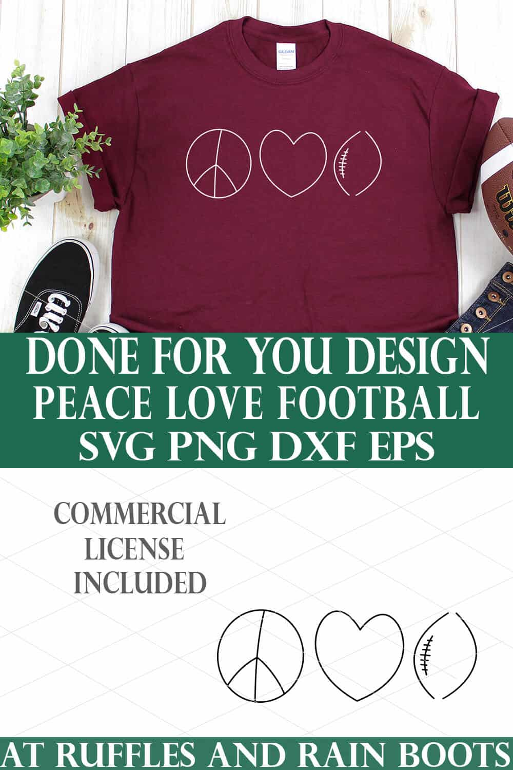 vertical collage of peace love football svg on maroon t shirt on white background in hand drawn style from ruffles and rain boots made for cricut and silhouette cutting machines