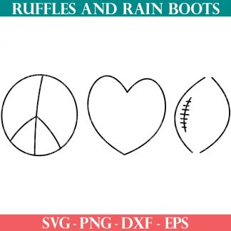 peace love football svg from ruffles and rain boots in an elegant style for cricut maker explore and silhouette machines