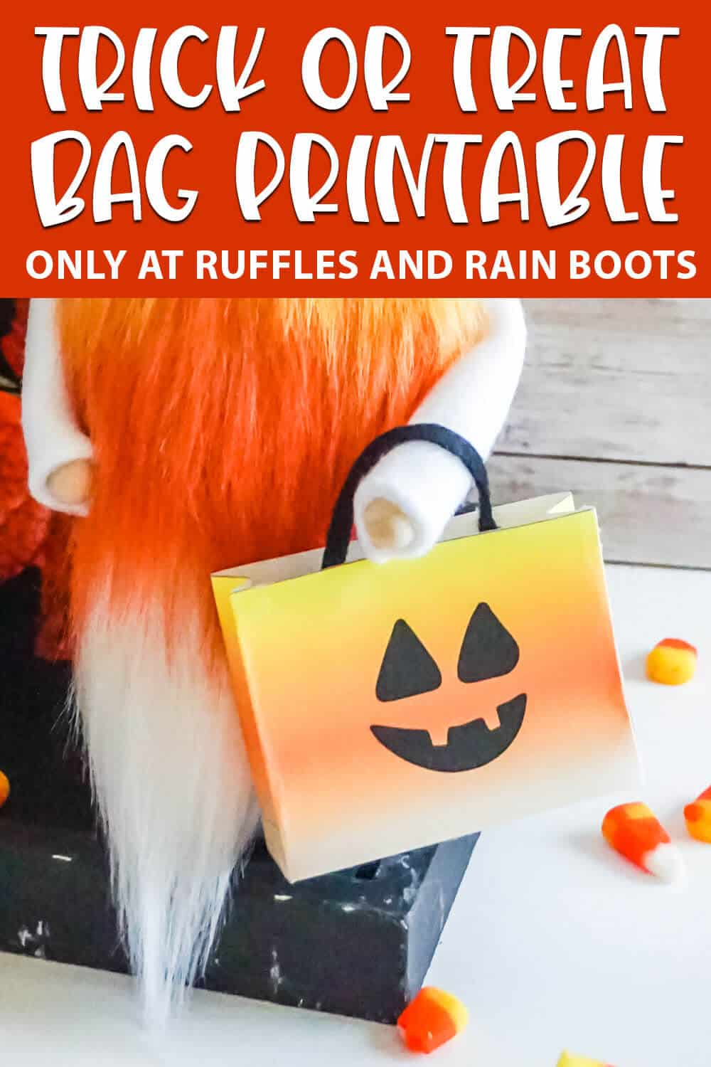 gnome candy bag printable with text which reads trick or treat bag printable