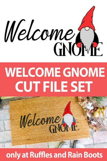 photo collage of gnome doormat cut file with text which reads welcome gnome cut file set