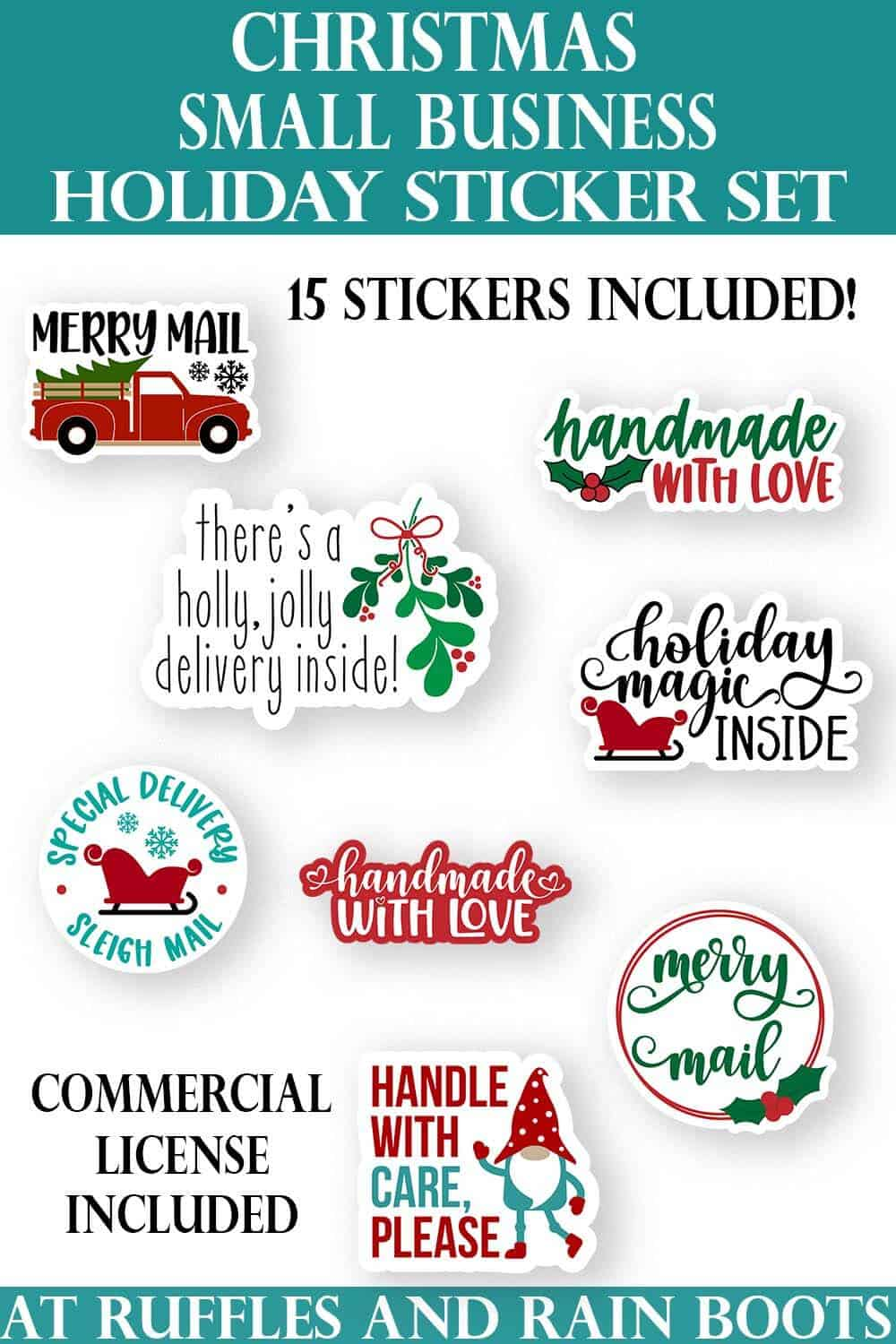 vertical image of christmas sticker bundle for gift tag, parcel, or package for small business owners shipping