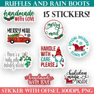 christmas sticker bundle for small business owners gift package parcel from ruffles and rain boots
