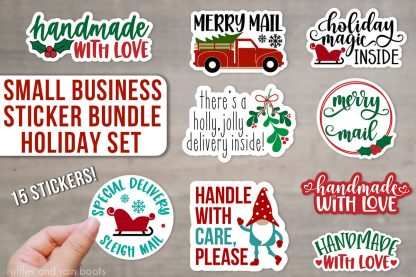 horizontal image of close up of small business christmas sticker set for packages letters mail gifts and presents