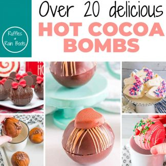 square image of the hot cocoa bombs recipe ebook with a title which reads over 20 delicious hot cocoa bomb recipes from ruffles and rain boots