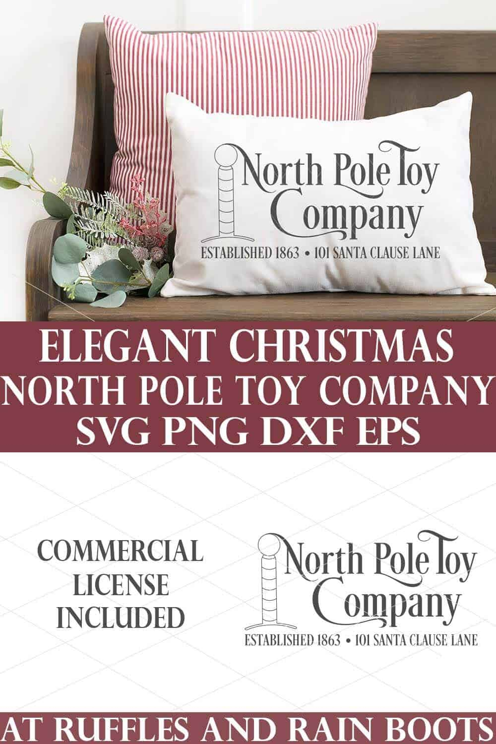 vertical collage of north pole toy company svg on bottom and the design placed in light gray iron on vinyl cut with cricut on a holiday pillow with a Christmas background